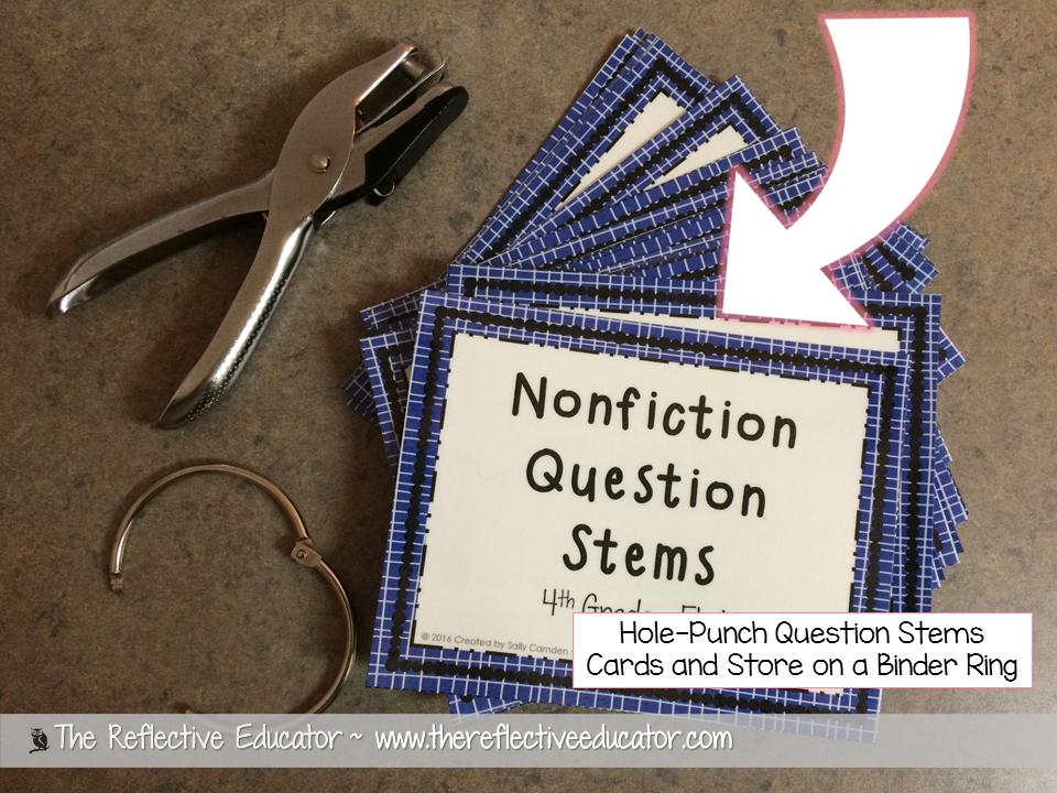 nonfiction text question stems cards