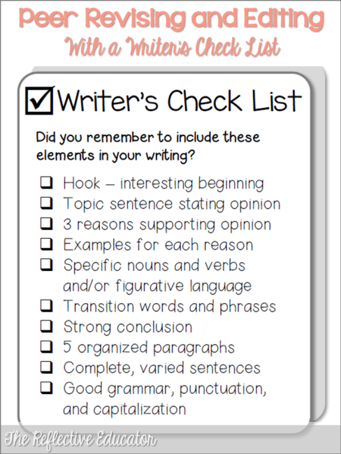 5 paragraph essay peer editing checklist Does the paper have at least eight sentences in each body paragraph and at least three   narrative/descriptive essay - peer editing checklist.