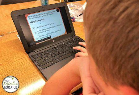 Student practicing digital Halloween idioms
